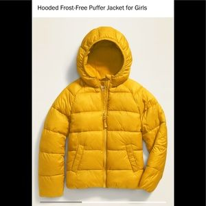 Old Navy frost free puffer jacket coat yellow girl